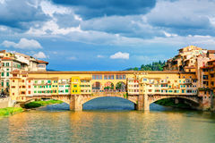 Ponte Vecchio over Arno river in Florence Stock Image