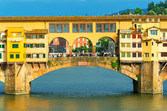 Ponte Vecchio over Arno river in Florence Royalty Free Stock Images