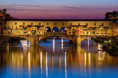 Ponte Vecchio over Arno River in Florence, Italy Royalty Free Stock Photography