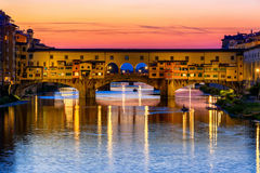 Ponte Vecchio over Arno River in Florence, Italy Royalty Free Stock Images