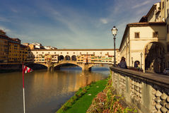 Ponte Vecchio over Arno River in Florence, Italy Royalty Free Stock Photos