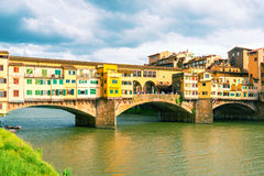 Ponte Vecchio over Arno river in Florence. Vintage photo. Royalty Free Stock Photos