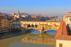 Ponte Vecchio over the Arno River and the Vasari Corridor in Florence Stock Photography