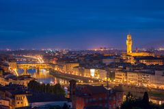 Ponte Vecchio and Palazzo Vecchio, Florence, Italy Stock Images