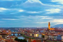Ponte Vecchio and Palazzo Vecchio, Florence, Italy Stock Image