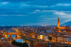 Ponte Vecchio and Palazzo Vecchio, Florence, Italy royalty free stock images
