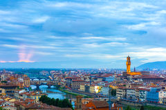 Ponte Vecchio and Palazzo Vecchio, Florence, Italy Stock Photos