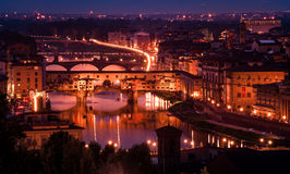 Ponte Vecchio from Piazzale Michelangelo. Ponte Vecchio, the only bridge to survive the chaos of WWII, at dusk from Piazzale Michelangelo. Florence, Italy Royalty Free Stock Images