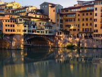 Ponte Vecchio reflexion Florence Italy arkivfoto
