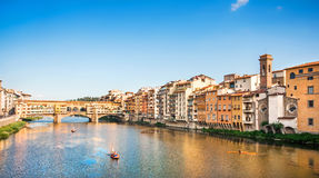 Ponte Vecchio with river Arno at sunset, Florence, Italy Stock Image