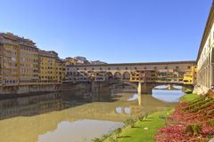 Ponte vecchio and river Florence Italy. Stock Images