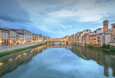 Ponte Vecchio from St Trinity bridge, Florence Royalty Free Stock Image