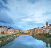 Ponte Vecchio from St Trinity bridge, Florence Stock Photos