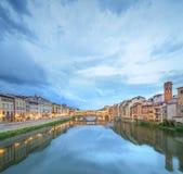 Ponte Vecchio from St Trinity bridge, Florence Stock Photos