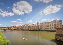 Ponte Vecchio from St Trinity bridge, Florence Stock Photo