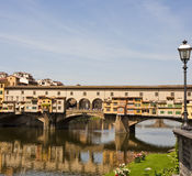 Ponte Vecchio and Streetlamp Stock Photography
