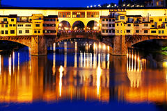 Ponte Vecchio at sunset, Florence Stock Images
