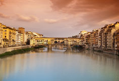 Ponte Vecchio at sunset, Florence, Italy Royalty Free Stock Image