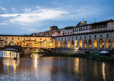 Ponte Vecchio. Sunset in florence view over arno royalty free stock photo
