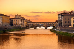 Ponte Vecchio sunset view over Arno  river in Florence Stock Photo