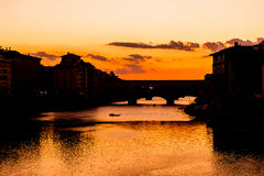 Ponte Vecchio sunset view over Arno  river in Florence Royalty Free Stock Images