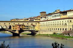 Ponte Vecchio and the Uffizi Gallery in Florence, Italy Royalty Free Stock Image