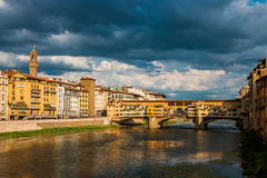 Ponte Vecchio under stormy clouds Royalty Free Stock Images