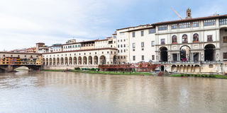 Ponte vecchio, vasari corridor and Uffizi Gallery Stock Images