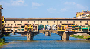 Ponte Vecchio view over Arno  river in Florence Stock Photography