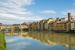 Bridge in Florence - Ponte Veccio. Colorful historic houses on the river Arno and the Bridge Ponte Veccio in Florence, Tuscany, in the evening sun Royalty Free Stock Photography