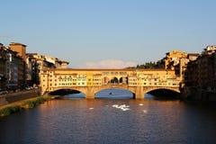 Ponte Vechhio. Sunlight reflecting on to the Ponte Vecchio, Florence Royalty Free Stock Photo