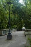 Ponte velha autêntica com uma vista escandinava verde ao lado do rio Fotografia de Stock Royalty Free
