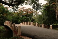 Ponte velha no parque de Vachirabenjatas imagem de stock