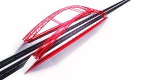 Ponte vermelha da estrada de uma vista aérea Fotos de Stock Royalty Free