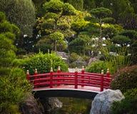 Ponte vermelha no jardim japonês Foto de Stock Royalty Free