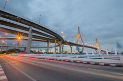 Ponte, via expressa, estrada, luz, Foto de Stock