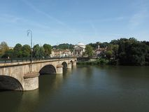 Ponte Vittorio bridge and Gran Madre church in Turin Royalty Free Stock Image