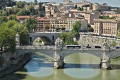 Ponte Vittorio Emanuele i Tiber rzeka fotografia royalty free