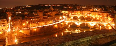 Rome river front at night. Scenic panorama overlooking Rome riverfront at night Stock Photo
