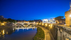 Ponte Vittorio Emanuele II is bridge across Tiber day to night timelapse in Rome, Italy stock video
