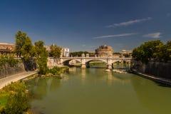 Ponte Vittorio Emanuele II bridge over River Tiber, Castel Sant Stock Photography