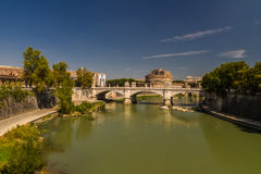 Ponte Vittorio Emanuele II bridge over River Tiber, Castel Sant Stock Photography