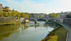 Ponte Vittorio Emanuele II in Rome - Italy. Sunset on River Tiber in Rome, Italy Stock Photos