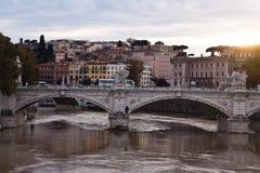 Ponte Vittorio Emanuelle ll rome Italië Royalty-vrije Stock Foto