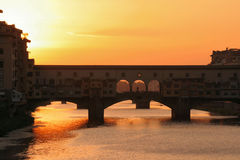 ponte zmierzchu vecchio Obrazy Stock