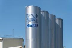 Nestle logo on tank of Pontecesures factory stock photos