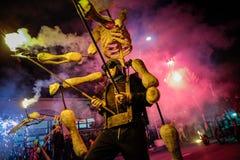 Pontedera, Centrum Sete Sois Sete Luas, fire show Avalot. Pontedera, Italy - July 14, 2016: The Avalot Fire show in Viale Rinaldo Piaggio in Pontedera, Tuscany stock photography