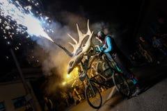 Pontedera, Centrum Sete Sois Sete Luas, fire show Avalot. Pontedera, Italy - July 14, 2016: The Avalot Fire show in Viale Rinaldo Piaggio in Pontedera, Tuscany stock images