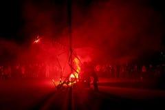 Pontedera, Centrum Sete Sois Sete Luas, fire show Avalot. Pontedera, Italy - July 14, 2016: The Avalot Fire show in Viale Rinaldo Piaggio in Pontedera, Tuscany royalty free stock image