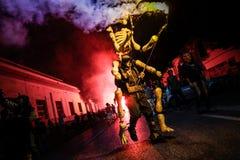 Pontedera, Centrum Sete Sois Sete Luas, fire show Avalot. Pontedera, Italy - July 14, 2016: The Avalot Fire show in Viale Rinaldo Piaggio in Pontedera, Tuscany royalty free stock photography